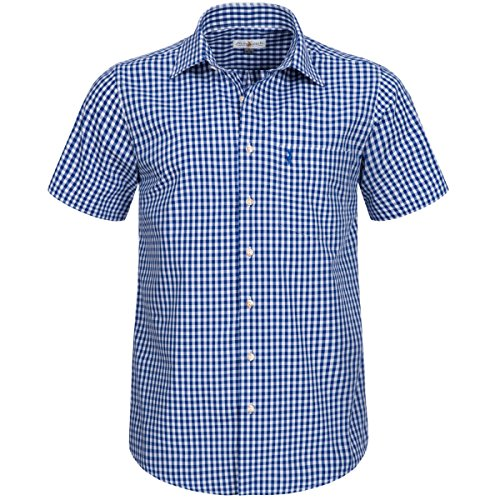 Almsach Herren Trachten-Mode Kurzarm Trachtenhemd in Blau traditionell, Größe:M, Farbe:Blau