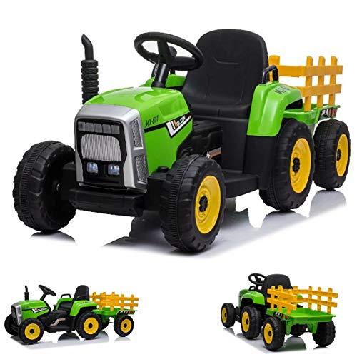 ES-TOYS Tractor eléctrico niños Remolque 2 Motores eléctricos Control Remoto