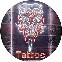 Hannya Mask Tattoo Dual Color LED看板 ネオンプレート サイン 標識 白色 + オレンジ色 300 x 400mm st6s34-i3286-wo