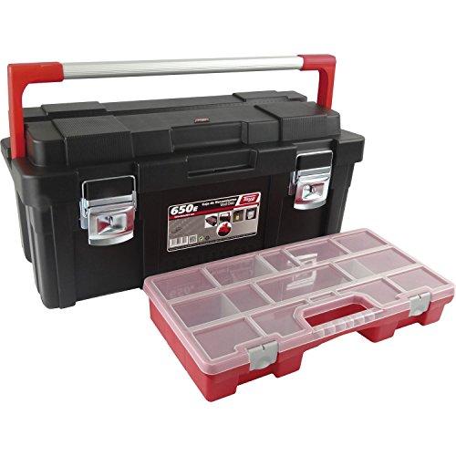 Tayg 173004 Caja de herramientas de plástico-aluminio 650-E, negro, 650 x 300 x 295 mm
