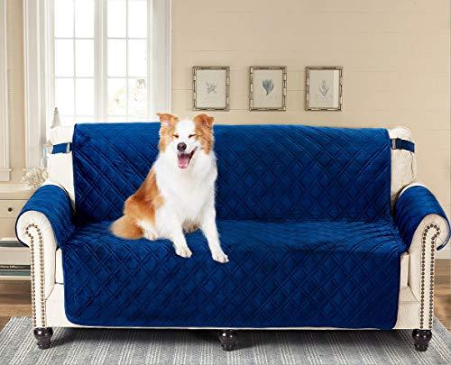"Brilliant Sunshine Premium Silky Velvet Oversized Loveseat Protector for Seat Width up to 54"", Slip Resistant, Waterproof, Furniture Slipcover, Couch Slip Cover for Pets, Kids, Love Seat, Navy Blue"