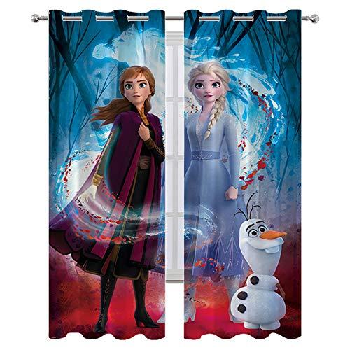 SSKJTC Exclusiva cortina para interiores con películas congeladas Elsa Anna Olaf para oscurecimiento de la habitación, panel de cortina de ventana de 72 x 84 pulgadas