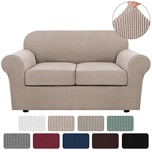 3 Piece Stretch Sofa Covers for 2 Cushion Couch Loveseat Covers for Living Furniture Slipcovers (Base Cover Plus 2 Seat Cushion Covers) Feature Upgraded Thicker Jacquard Fabric (Loveseat, Sand)
