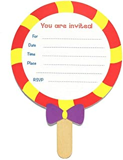 Sweet Rainbow- Invitation Card Set | 8 Pack | Invitation Cards | Baby Shower, Birthday Party | Candy, Lollipop Card | Candy Shop Invite