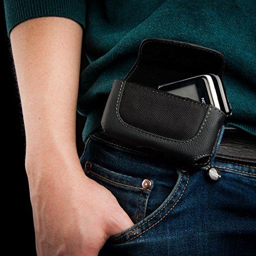 Cuero Negro Horizontal Pinza para Cinturón Compatible con Nokia 2720 fold, 11, 100, 105, 106, 107, 108, 109, 112, 113, 114, 130, 206, 207, 208, 220, 301, 515, 1202, 1208, 1209, 1280 Teléfono Case