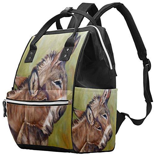 Donkey Hugs Peinture Nappy Changing Bag Diaper Sac à dos avec poches isolées, sangles de poussette, grande capacité multifonctionnel élégant sac à couches pour maman papa en plein air