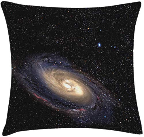 Galaxy Throw Pillow Cushion Cover Spiral Universe in a Field of Stars Astronomy Theme Deep Outer Space Print Decorative Square Accent Pillow Case 18' X 18' Black Beige Purple