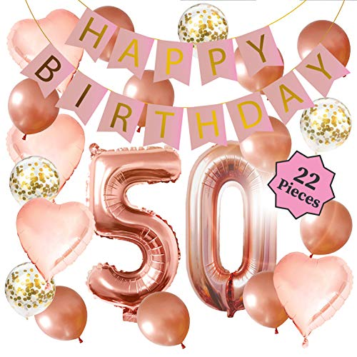 50th Birthday Decorations for Women: 40 Inch 50th Rose Gold Balloons, Happy Birthday Decorations