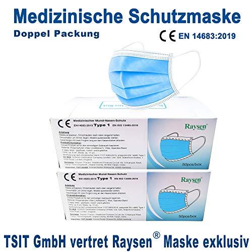 2x50 Raysen medizinische Mundschutz Maske, Gesichtsmaske, Atemmaske, Mund Nase Schutz, Hygienemaske, 3-lagig, Einweg, Norm EN14683:2019, TÜV Rheinland EN ISO 13485:2016, Doppel Packung, Versand aus DE