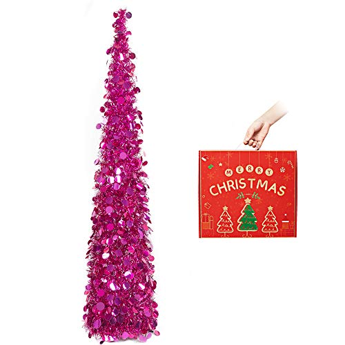 N&T NIETING Christmas Tree,5ft Collapsible Pop Up Christmas Tree Fuchsia Tinsel Coastal Christmas Tree for Holiday Xmas Decorations,Home Display, Office Decor
