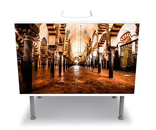 wandmotiv24 Badunterschrank weiß, Die Große Moschee, Cordoba, Spanien Komplettbeklebung Waschbecken, Waschbeckenunterschrank M0814