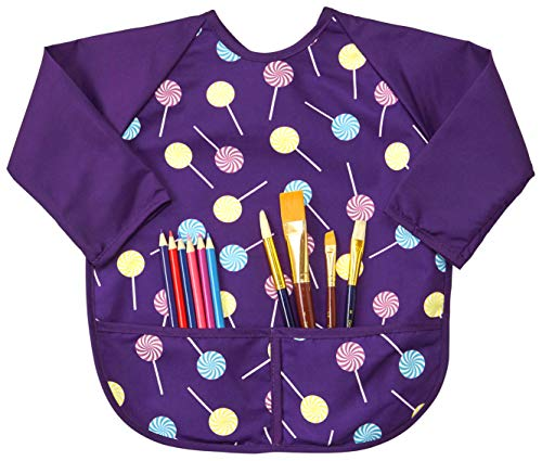 Abstract Kids Art Smock Apron - Purple Lollypop Long Sleeve Waterproof Bib for Painting, Feeding and More - 2 Pockets - Premium Quality Microfiber with Vinyl Lining - Small