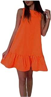 RkYAO Women's Casual Ruched Ruffled Sleeveless Beach Party Dress