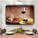 GJQFJBS Verdure Frutta Vino Rosso Bicchiere Cucina Cibo Tela Pittura Cuadros Scandinavi Manifesti e Stampe Immagine murale Soggiorno (Senza Cornice) 60x80 cm