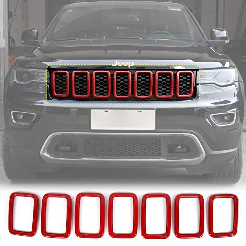 JeCar Front Grill Rings Grille Inserts Cover Trim Kit for 2017-2020 Jeep Grand Cherokee, Red (7Pcs)