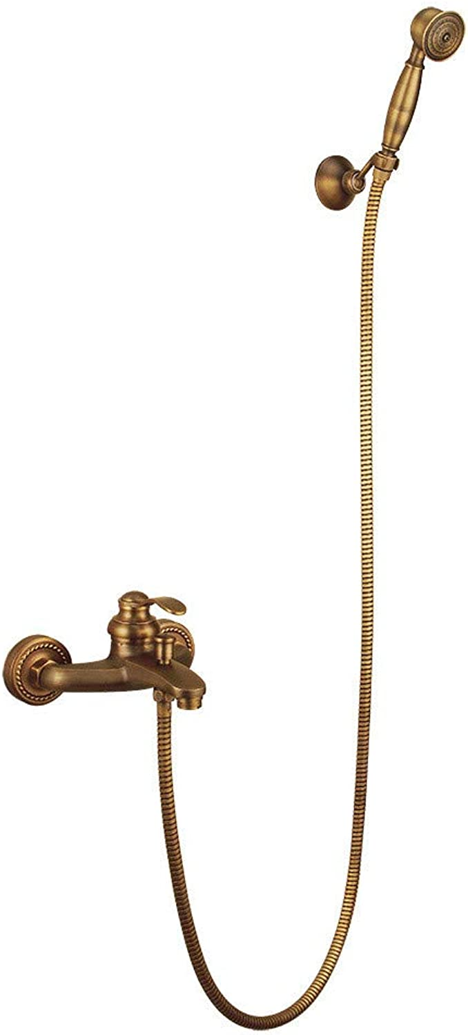 redOOY Showers Antique Copper-Style Simple Shower Retro Wall-Mounted Hot And Cold Simple Shower Hand Shower
