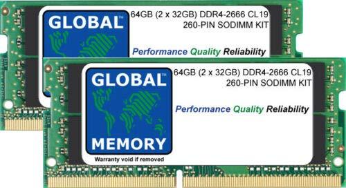 "Global Memory 64 GB (2 x 32 GB) DDR4 2666 MHz PC4-21300 260 Pin SODIMM Memory Ram Kit para Retina 5K iMac de 27"" (2019/2020)"
