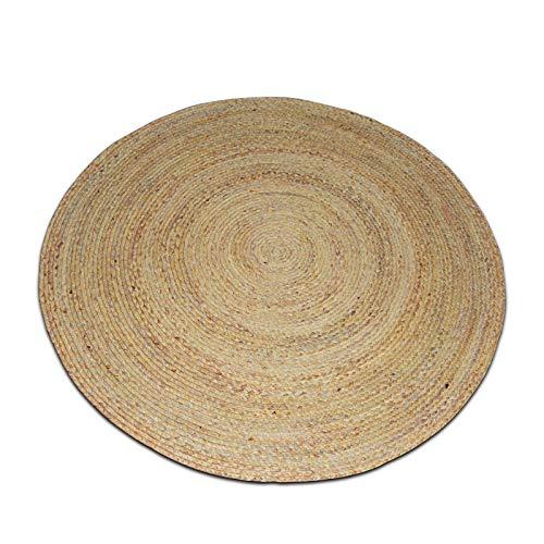 BGHKFF Geflochten Teppich ,Strohteppich Mit Muster Rund Maisstrohteppich Natur Maisstroh Teppich Reisstrohteppich Naturteppich,A-120CM