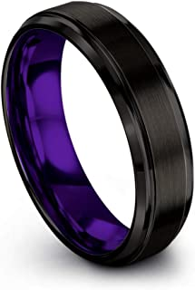 Tungsten Carbide Wedding Band Ring 6mm for Men Women Green Red Blue Purple Black Copper Fuchsia Teal Interior with Step Bevel Edge Brushed Polished