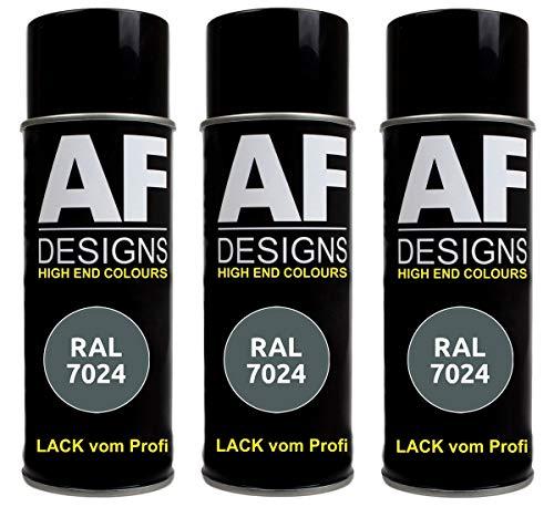 Alex Flittner Designs 3X RAL Lackspray Autolack Buntlack Spraydose RAL7024 Graphitgrau matt