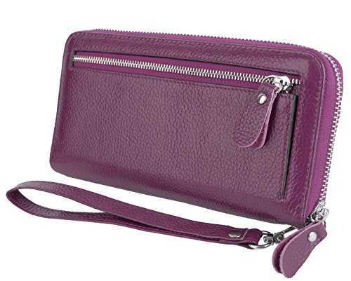 YALUXE Women's Leather RFID Security Zipper Wallet with Wristlet Strap for Card Passport Phone Purple