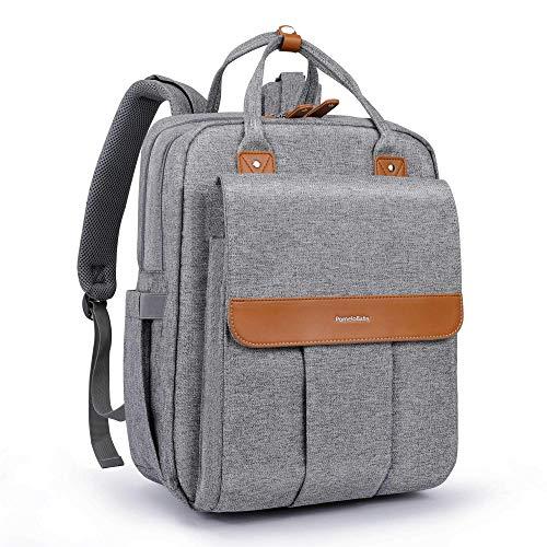 PomeloBaby Wickelrucksack mit anzierbare Wickelunterlage, Kinderwagenbefestigung und Laptopfach Unisex Wickeltasche für Papa und Mama (Grau)