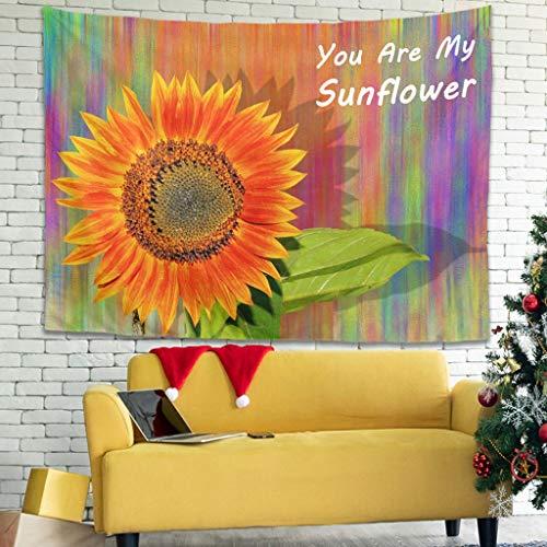 WellWellWell Tapiz multifuncional con diseño de girasol, para mantel, redondo, blanco, 230 x 150 cm
