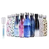 U-Max Botella de Agua de Acero Inoxidable de 500 ml, aislada al vacío, con Doble Pared de Onda, térmica, para Deporte, frío, frío y frío, Daisy