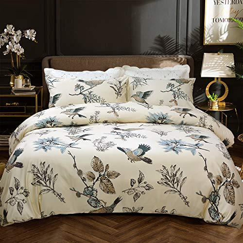 Softta Bird Bedding Floral and Leaves Twin 3 Pcs American Country Style Duvet Cover Natural Bamboo Fiber + Egyptian Cotton 800 Thread Count Super Soft Khaki