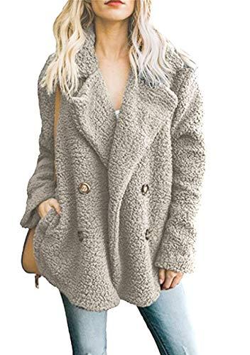 OMZIN Faux Fur Jacke Damen Zweireiher Mantel Kurz Outwear Revers Coat Lose Warme Winterjacke Frauen Casual Mode Hellgrau S