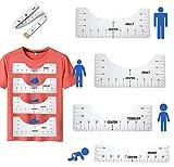 Guía de la regla de la camiseta -4 Escalas de tamaño-Diseños de sublimación en la guía de la regla de la camiseta Tabla de tallas-Guía de la regla de la camiseta para la sublimación-Guía de alineación