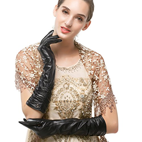 """Nappaglo Women's Winter Long Leather Gloves Genuine Nappa Leather Touchscreen Ruched Elbow Party Mittens (M (Palm Girth:7.2""""), Black (Touchscreen))"""