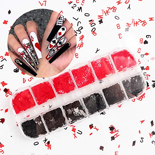 Kalolary 1 Boxes / 12 Grid Poker Nail Art Sequins, Holographic Poker Nail Glitters Sequins Red and Black Heart Letter Nail Flakes Nail Sparkle Glitter Confetti Sticker for Nail Art Decoration Makeup