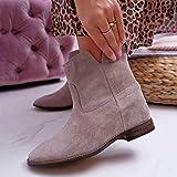 Mujer Botas Vintage Otoño Botines Romanos Botines Cortos Zapatos de tacón bajo Botas 35-43,Gris,41