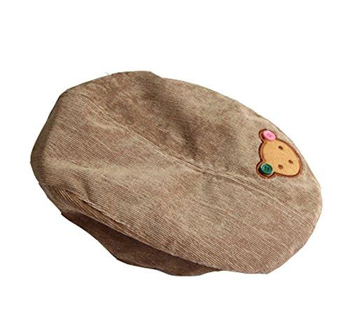 Yonger Corduroy Bear Children Beret Boys Baby Hat Girls Kid Cap Brown