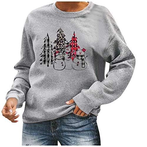 Fashion Womens Casual Loose O-Ausschnitt Weihnachten Bedruckt Langarm Tops T-Shirt Damen Lose Asymmetrisch Jumper Sweatshirt Bluse Oberteile Tops Langarm Sweatshirt Jumper Pullover Tops