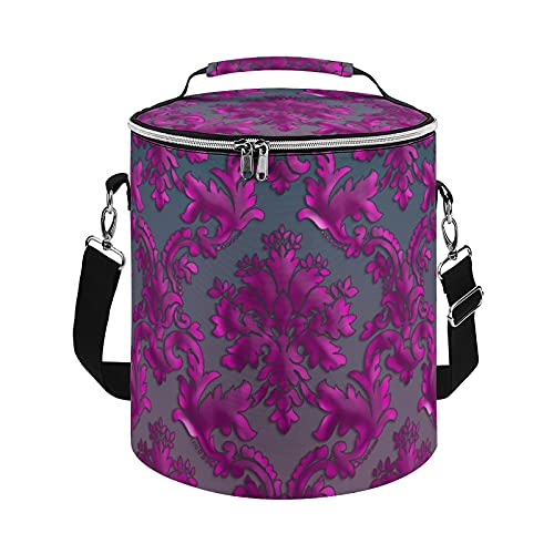 Bolsa de refrigeración, bolsa térmica de damasco, color fucsia medianoche, bolsa grande para actividades al aire libre, senderismo, camping, barco, playa, pesca