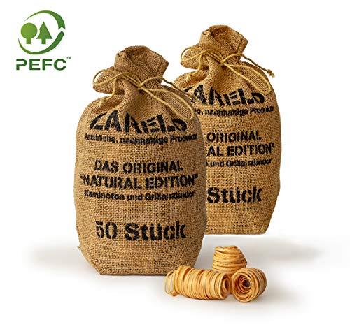 ZARELO Original 100% nachhaltige Grill- und Kaminanzünder, 2 Jutesäcke Anzündwolle mit Wachs, Grillanzünder Holzwolle, Bio-Anzünder, Feueranzünder, Holzanzünder (Grill-, Kamin- & Ofenanzünder)