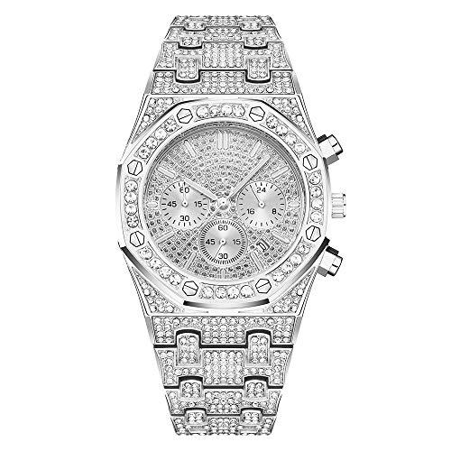 Reloj de diamantes reloj de diamantes octogonal de tres ojos reloj de moda hip-hop con correa de metal y reloj ajustable, correas para hombres y mujeres llenas de diamantes