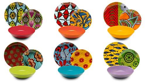 Excelsa Afrika Servizio Piatti 18 Pezzi, Porcellana e Ceramica, Multicolore