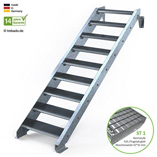Außentreppe 9 Stufen 70 cm Laufbreite - ohne Geländer - Anstellhöhe variabel von 150 cm bis 180 cm - Gitterroststufe ST1 - feuerverzinkte Stahltreppe mit 700 mm Stufenlänge als montagefertiger Bausatz