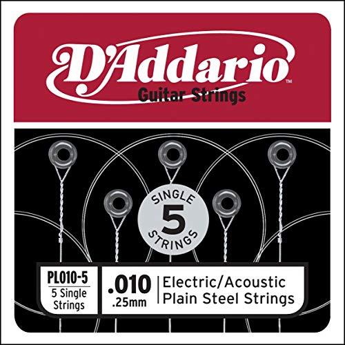 Corda singola PL010-5 in acciaio per chitarra.010, set di 5 corde