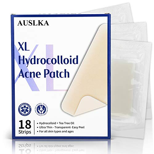 AUSLKA Large Blemish Pimple Patch XL (18 Strips), Hydrocolloid Spot Dots, Blemishes Patch, Pimple Stickers