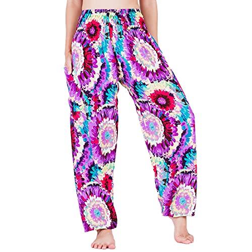 Lofbaz Yoga Boho Pantalones para Mujer Harem Hippie Ropa Pijamas Salón Joggers Ropa India Bohemia Danza Verano Playa Strawflower Morado XL