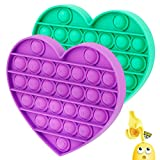 Push Pop Bubble Sensory Fidget Toy,Silicone Stress Anxiety Relief Reliever Toy,Squeeze Extrusion Sensory Toy Game for Kids Adults Autism Special Needs (Heart Purple&Green)