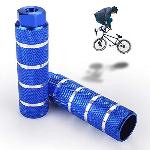 LORESJOY Pedale BMX in Lega di Alluminio,Picchetti Bike 2 Pezzi, Pedane Bicicletta,Antiscivolo,Poggiapiedi da Bicicletta,per BMX Bicicletta Mountain Bike Bambini e Adulti (Blue)