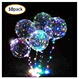 10pc LED Balloons Party Balloons Light up Clear Bobo Bubble Balloons Helium or Air(multicolor)