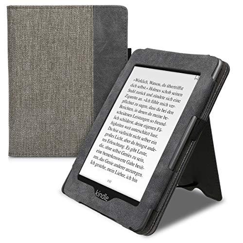 kwmobile Custodia Protettiva Compatibile con Amazon Kindle Paperwhite - Case in Tela con Chiusura Magnetica Autosleep Leggio Cinturino e Portatessere