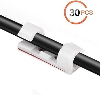 AGPTEK 30x Organizador de Cables con Tornillos y Adhesivo, Clips de Cables para Cable de USB, TV, Cargador, Audio, Abrazadera de Alambre para Mesa, Coche, Oficina, Casa, Blanco