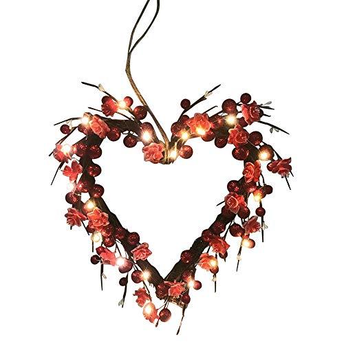Guirnalda de San Valentín iluminada Amor en forma de corazón Rosa roja Decoración Guirnalda Navidad Día de San Valentín Puerta Colgante de pared Decoración guirnalda